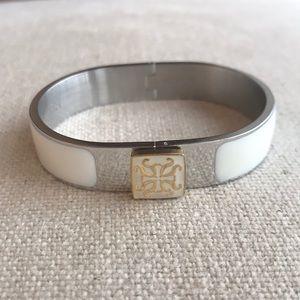 🌬Rustic Cuff White/Silver Bracelet w/pouch🌪